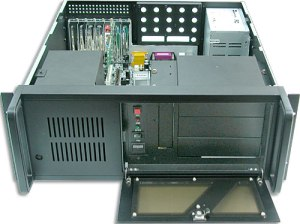 "19-inch rack mountable chassis which meets the EIA RS-310C standard     Rugged, steel chassis suitable for industrial environments     Main-board version with choice 16 ports DVR BNC board for DVR market.     Standard 250-watt AC AT/ATX power supply, optional redundant-with (2) 250-watt  AC ATX hot swappable, 300-watt AC AT/ATX power supply, 400-watt AC AT power supply ,300-watt DC48V     Easily maintainable disk drive bays that allow mounting of three half-height 5.25"" and one half-height 3.5"" disk drives accessible from the front door, and six internal half-height  3.5""  disk drives     Lockable door for protecting disk drives against dust.     Adjustable hold-down card clamp to protect add-on cards against vibration.     One keyboard connector behind the front panel and another keyboard connector at the rear panel     Reserved 9828 pins connector at the rear panel of the chassis     Power-on switch with indicator and independent reset switch behind the lockable door     Hard disk LED indicator     One 85 CFM cooling fans which dissipate heat in the chassis     Replaceable and easy-to clean fan filter"